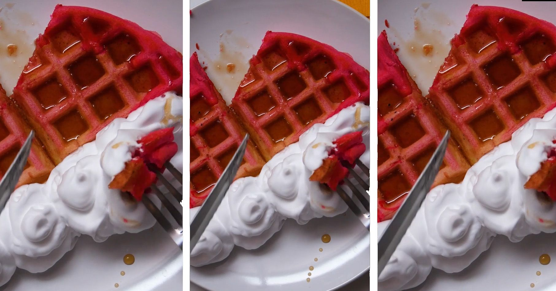 pink ombre waffle with whipped cream being picked up on a silver fork