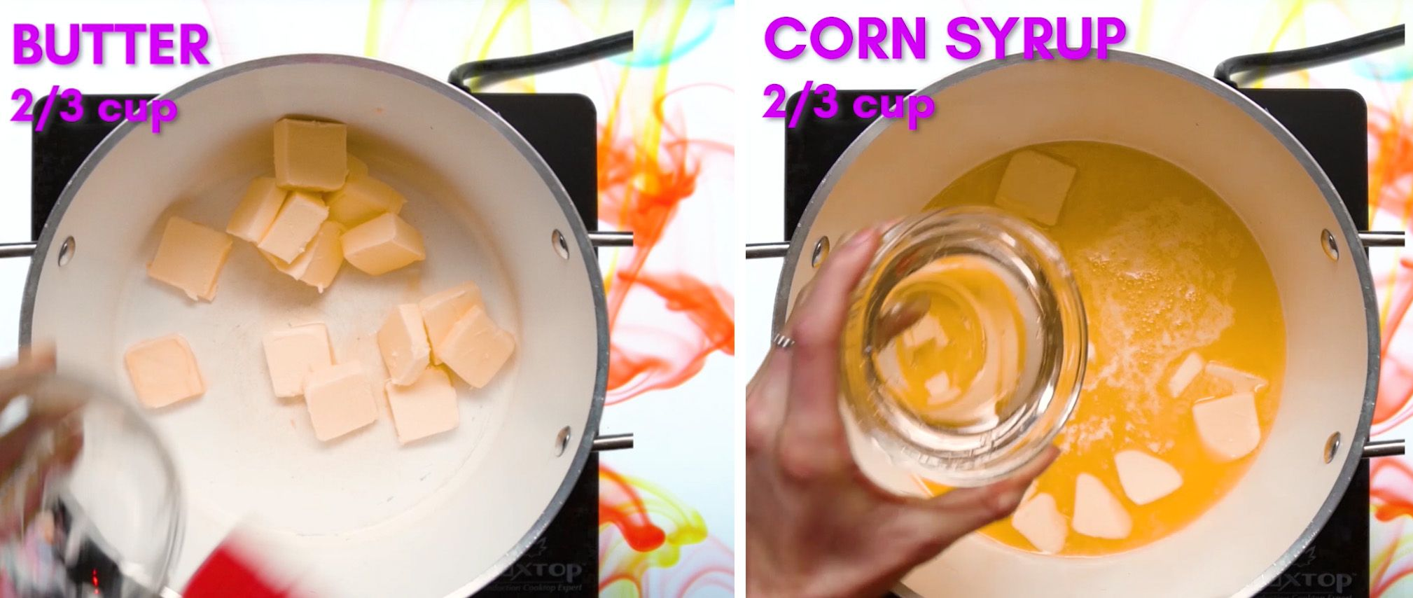 butter and corn syrup being poured into a white saucepan